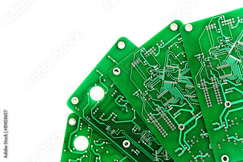 A lot of green PCB on a white background - 81458657