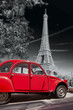 Eiffel Tower with old red car in Paris, France - 81458815