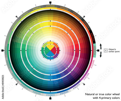 Natural or true color wheel with four-primary colors - 81458823
