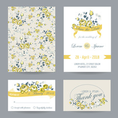 Invitation or Congratulation Card Set - for Wedding, Baby Shower