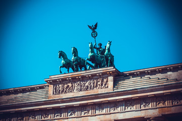 Brandenburg Tor detail. Berlin, Germany.  Victory and Fame often