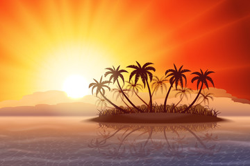 Paradise tropical island with palm trees at sunset