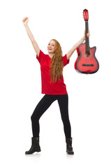 Pretty girl with guitar isolated on white