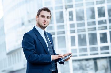 Businessman using a digital tablet computer,