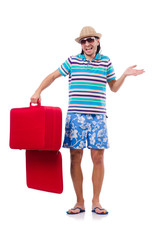 Travel vacation concept with luggage on white