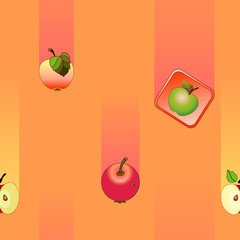 Pattern with falling apples on a orange background.