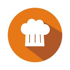 Icono gorro cocinero naranja botón sombra