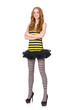 A girl in black and yellow striped dress isolated on white - 81461618