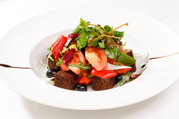 Beautiful salad with croutons