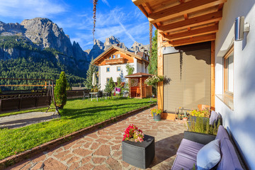 Terrace of alpine house in Dolomites Mountains, Italy