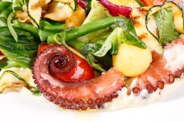 Fresh salad with octopus