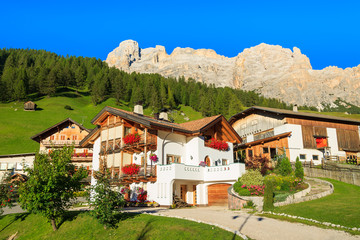Houses in San Cassiano village in Dolomites Mountains, Italy