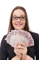 Business lady with money isolated on white