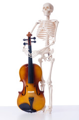 Skeleton with violin isolated on white