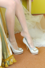 Bride dressing shoes