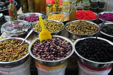 Olives in market stan