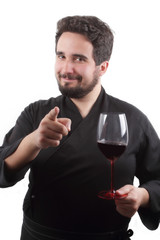 chef with glass of wine