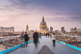 Symmetry on the Millennium Bridge to the St Paul's Cathedral - 81465086