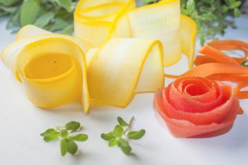 Yellow zucchini rolls