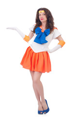 Model wearing sailor moon suit isolated on white