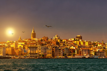 Istanbul skyline with Galata Tower at sunset