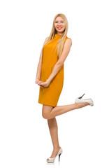 Pretty girl in ocher dress isolated on white