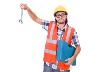 Funny young construction worker with toolbox and wrench isolated