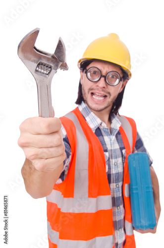 Funny young construction worker with toolbox and wrench isolated - 81465871
