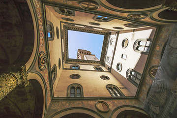 A view in the Uffizi Gallery in Florence in Italy in summer