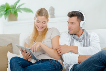 Geeky couple love their gadgets