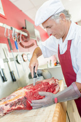 Senior butcher has lots of experience