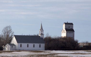 Church and Prairie Elevator