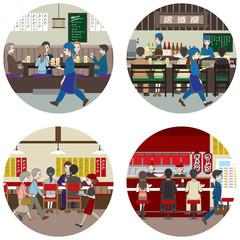 ビジネス / 食事を楽しむ人々