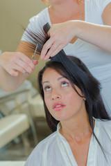 Brunette at the hair salon