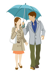 Couple Sharing an Umbrella,front view,Isolated