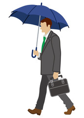 Business person has an Umbrella,side view,Isolated