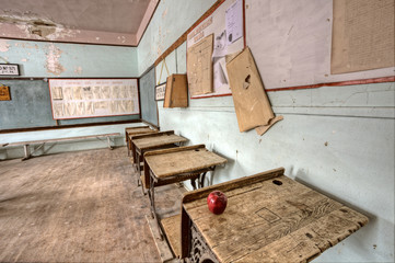 Abandoned School House red apple