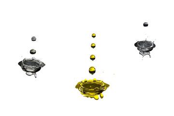 gotas de agua a cair sobre três respingos diferntes.