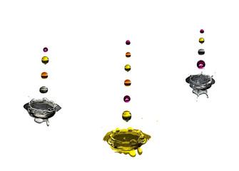 gotas de multiplas cores a cair sobre três respingos de agua