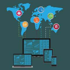 Website, mobile, analytics, concept, vector, illustration