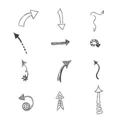 Vector, set, hand, drawn, arrows, illustration