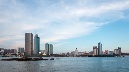 beautiful coastal city of xiamen skyline, time lapse