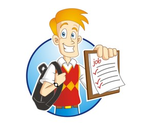 man learner schoolboy student character mascot image vector