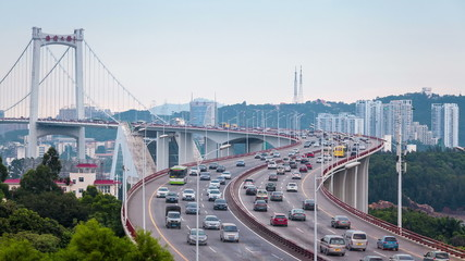 busy traffic closeup on xiamen haicang bridge , time lapse