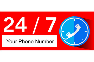 Flat icon of 24 hour Call Center