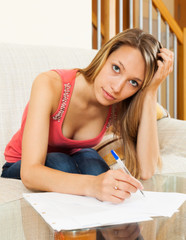 Woman working with papers