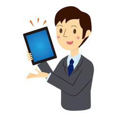 タブレット端末で説明するビジネスマン
