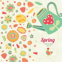 Spring love postcard.