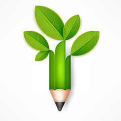 Creative pencil with green leaves on white, vector illustration