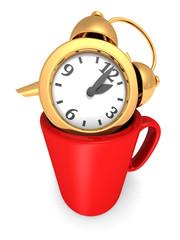 Golden Alarm Clock In Coffee Mug Cup. Take A Break